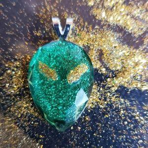 Green Alien Head Pendant
